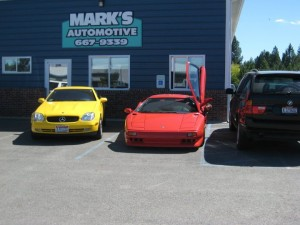 Customer cars in front of Mark's Automotive Post Falls